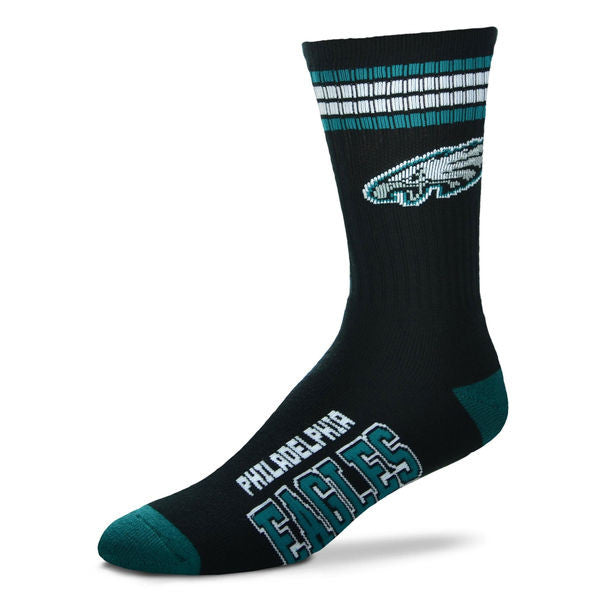 Philadelphia Eagles 4-Stripe Deuce  Color Performance Crew Socks - Sports Nut Emporium