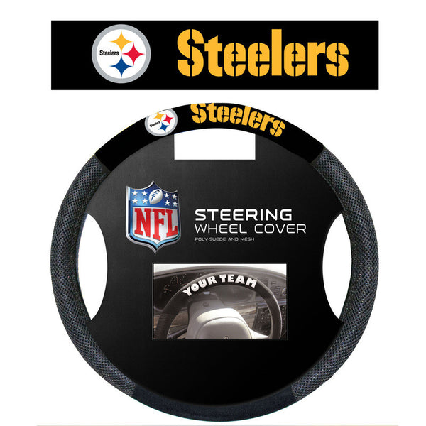Pittsburgh Steelers Poly Suede Steering Wheel Cover - Sports Nut Emporium