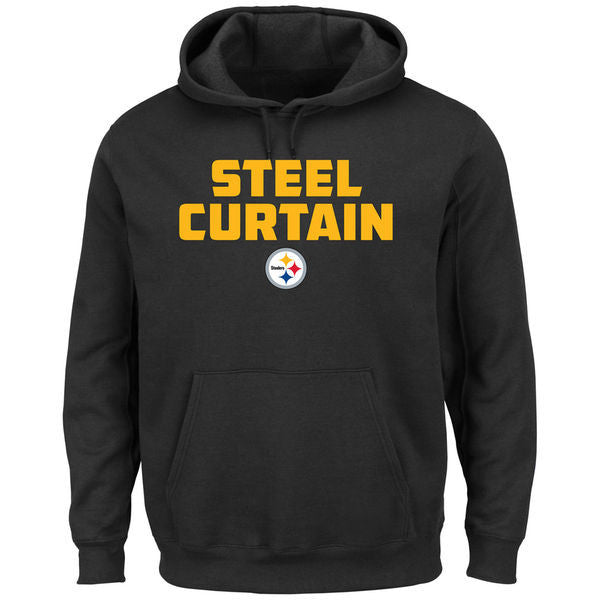 Pittsburgh Steelers Black STEEL CURTAIN Pullover Sweatshirt - Sports Nut Emporium