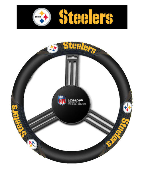 Pittsburgh Steelers Massage grip Steering Wheel Cover - Sports Nut Emporium