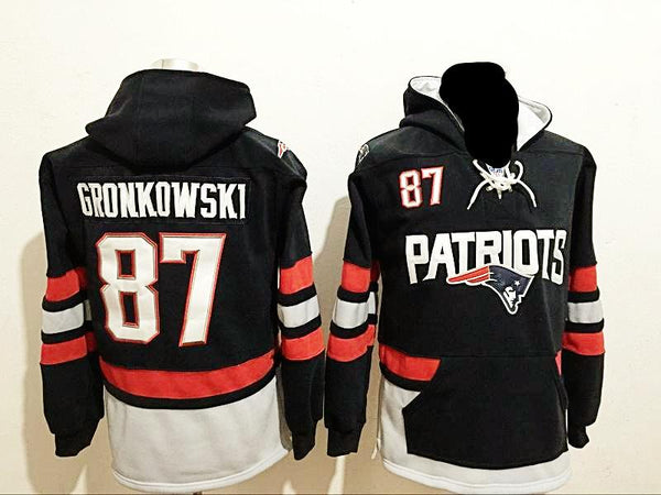 purchase cheap 53c3c 0c984 Rob Gronkowski New England Patriots Navy Blue Pullover Hoodie with front  pocket