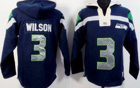 Russell Wilson Navy Blue Player Winning Method Pullover NFL Hoodie - Sports Nut Emporium