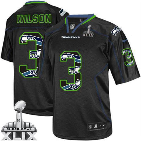 Russell Wilson New Lights Out Black Super Bowl XLIX Men's Stitched NFL Elite Jersey - Sports Nut Emporium