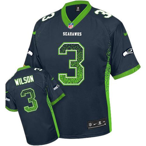 Russell Wilson Steel Blue Men's Stitched NFL Elite Drift Fashion Jersey - Sports Nut Emporium