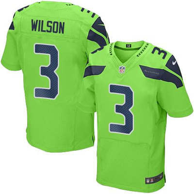 new style f02eb 1af9b Russell Wilson Green Men's Stitched NFL Elite Rush Jersey