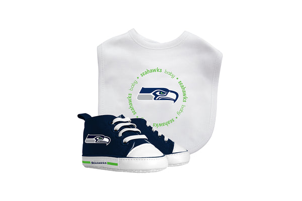 Seattle Seahawks Bib and High Top Pre Walkers Gift Set - Sports Nut Emporium