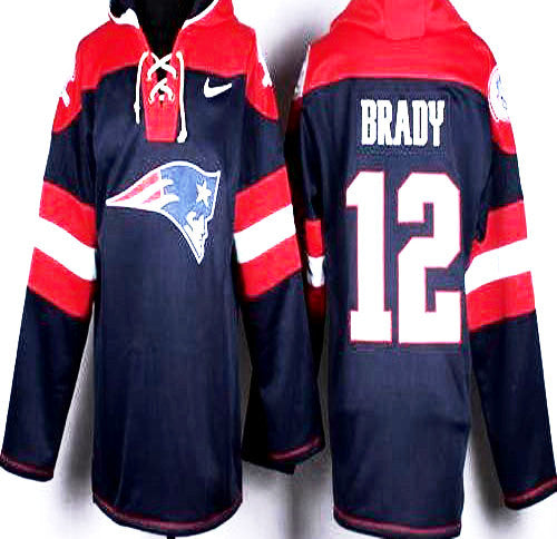 Tom Brady New England Patriots Hockey Style   blue and Red pullover hoodie - Sports Nut Emporium