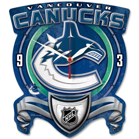 Vancouver Canucks High Def. Plaque Style Wall Clock - Sports Nut Emporium