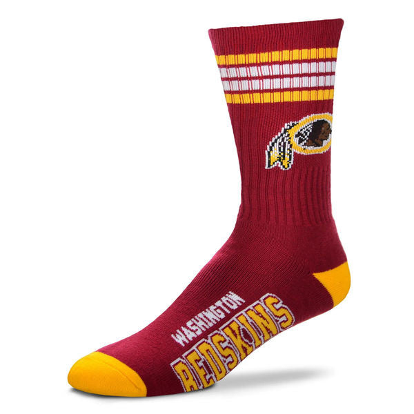 Washington Redskins  4-Stripe Deuce  Color Performance Crew Socks - Sports Nut Emporium
