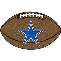 Dallas Cowboys football shaped rug - Sports Nut Emporium