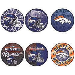 Denver Broncos 6 Pack buttons - Sports Nut Emporium