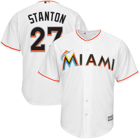 Giancarlo Stanton  Majestic Miami Marlins men's  White Home  Cool Base Player Jersey - Sports Nut Emporium