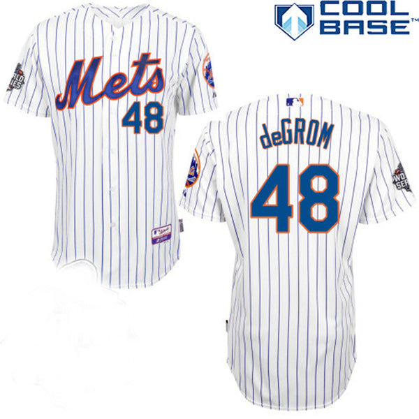info for ec538 a7648 Jacob deGrom New York Mets Cool Base whiote pinstripe jersey