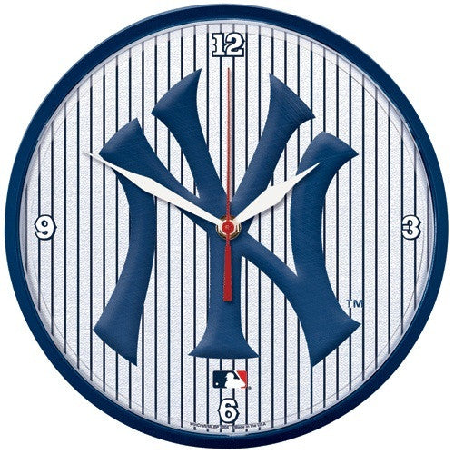 New York Yankees pinstripe wall clock - Sports Nut Emporium