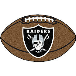 Oakland Raiders football shaped  floor mat - Sports Nut Emporium