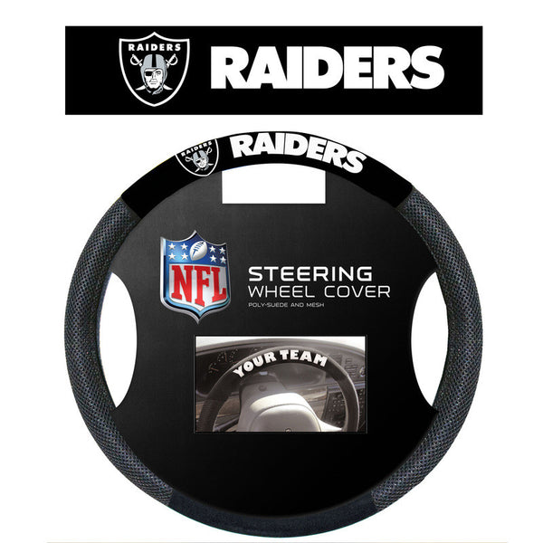 Oakland Raiders Poly Suede Steering Wheel Cover - Sports Nut Emporium
