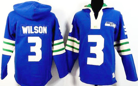 Russell Wilson Light Blue Seattle Seahawks Pullover Hoodie - Sports Nut Emporium