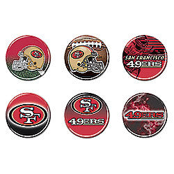 San Fransisco 49ers 6 pack buttons - Sports Nut Emporium