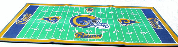 "St Louis Rams 28 X 52"" football field throw rug - Sports Nut Emporium"