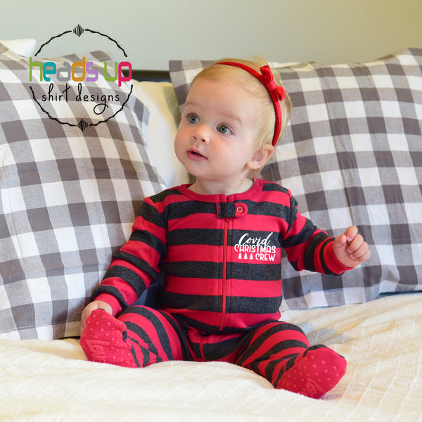 Cute funny covid christmas crew pajamas infant baby one piece zipper with foot pajamas pj's 2 piece pajamas for kids toddler youth adult teen matching COVID CHRISTMAS CREW pajamas jumorous photo shoot for christmas card. Many sizes available. fast shipping made in the USA. Coronavirus Rona Covid social distance pajamas matching family pajamas