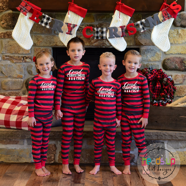 Matching Covid Christmas Crew pajamas for all ages boy girl kids teen youth adult baby infant. Red gray stripe two piece one piece zip up shirt pants social distancing pajamas pj's sleepwear photo shoot outfits Christmas Holiday grandma gift nana cousins siblings matching family pajamas. Covid Coronavirus 2020 cute popular best seller fast shipping girl boy unisex 2 3 4 5 6 7 8 10 12 14 16 adult small medium large XL