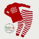 Crazy Christmas Crew pajamas matching family pj's cousins siblings friends neighbors grandma grandpa aunt uncle Matching family pajamas holiday photoshoot christmas card snowflakes winter holiday season. cute popular soft cotton comfortable best seller holiday popular family pajamas. Red white silver 2 piece one piece infant pajamas. Fast shipping made in the USA for infant baby kids teen youth adult boy girls men women unisex 2t 2 3t 3 4t 4 5t 5 6 8 10 12 14 grandchildren grandkids