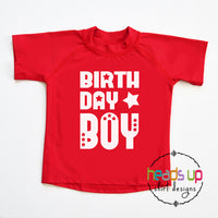 Swim shirt birthday boy party rashguard SPF 50 swimming pool party boy kids youth toddler baby 1 2 3 4 5 years old. Beach vacation cruise ocean lake water sun protection. popular best seller swim shirt red blue white navy. Fast shipping best selling heads up shirts design. cute comfortable machine washable.