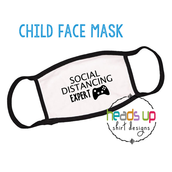 video game facemask social distancing expert funny joke facemask covid coronavirus kids youth toddler boy girl school face mask nintendo xbox gamer gaming popular best seller facemask back to school fast shipping comfortable reusable washable cotton youth face mask