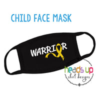 CANCER WARRIOR FACEMASK child youth kids boy girl childhood cancer ribbon warrior face mask comfortable soft machine washable reusable awareness mask september go gold gold ribbon yellow warrior hero cancer gift mom support sibling boys girls made in the USA fast shipping popular best seller cancer warrior facemask