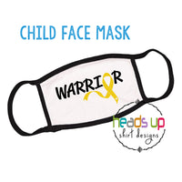 cancer warrior facemask for kids and youth 2 3 4 5 6 7 8 9 years old boy girl unisex elastic comfortable white black cancer ribbon fighter warrior hero go gold september we wear gold childhood cancer awareness face mask shield masks bulk made in the USA fast shipping best selling popular design style comfort ear loops. Cancer kids toddler face mask gold ribbon cute