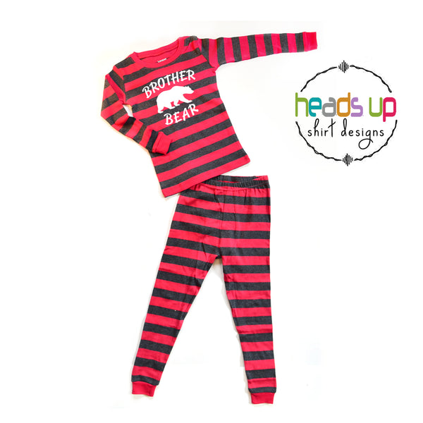 Brother bear pajamas matching family pajamas Christmas holidays red silver gray striped. Pants and shirt pj's. 100% cotton machine washable soft and comfortable bro brother sibling. baby toddler kids youth teen matching photo pajamas fast shipping. bulk discount boutique custom pajamas great customer service. Heads Up