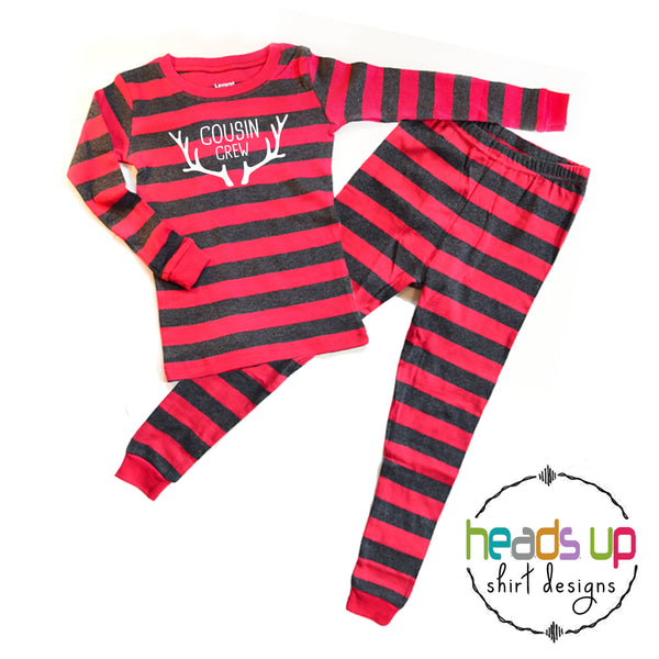 cousin crew with antlers matching pajamas for the grandkids cousins boy girl kids unisex baby toddler youth sizes available. Popular best seller pajamas sleepwear matching coordinating winter holiday Christmas group photo matching pj's. Made in the USA fast shipping great customer service
