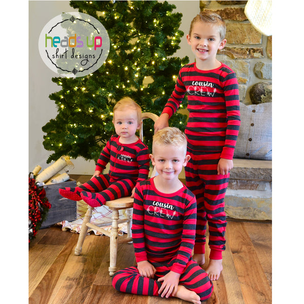 Cousin crew matching pajamas snowflake christmas winter theme cousins nana grandma gift matching pajamas pj's sleepwear Christmas morning outfits for photo christmas card popular best seller Family pajamas red striped boy girl kids baby infant youth 2 piece one piece zip shirt and pants. unisex darling boutique fast shipping discount Christmas holiday matching pajamas