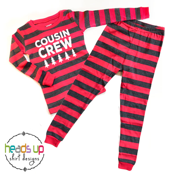 cousin crew holiday matching pajamas for grandma nana gift christmas card photo pajamas instagram pine trees red gray boy girl kids teen youth baby infant mom dad adult sizes available best seller popular boutique pajamas pj's soft comfortable long sleeve made in the USA 2 3 4 5 6 7 8 9 10 12 14 unisex comfy fast shipping best selling holiday pajamas set bulk discount