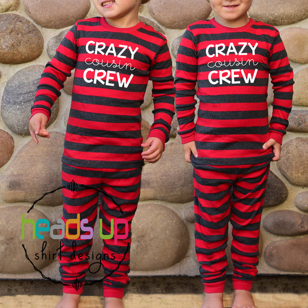 matching crazy cousin crew pajamas boy girl boys girls unisex matching coordinating grandma gift mimi nana grandkids baby infant toddler kids teen youth all sizes cute soft comfortable photo instagram best seller popular pajamas pj's sleepwear sleepover shirt matching siblings. Fast shipping made in the USA. matching crazy cousin crew pajamas for all ages. red gray boy girl unisex. pj's popular best selling pajamas summer Christmas holiday reunion grandma grandkids nana