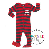 baby bear footed one piece zip up pajamas for baby toddler kids. Matching family pajamas brother bear sister bear mama bear papa bear. Striped soft cute comfortable on sale best seller popular pajamas. Leveret cute boy girl striped red Christmas winter sleep wear pajamas.