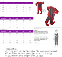 pajamas size chart for heads up shirts. one piece two piece pj's