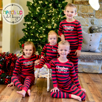 christmas pajamas matching christmas crew kids pajamas deer antler pj's twinning sleepwear comfortable sibling kids pajamas matching family shirts Christmas Crew Xmas cotton soft fast shipping USA adult kids teen youth baby sizes available popular style leveret