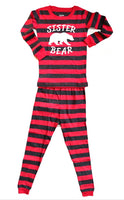 sister bear pajamas 2 piece 100% cotton red and gray stripes girl sister sibling matching pj's pajamas sleepwear comfortable best seller 2T 3T 4T 5T 6 7 8 9 10 12 14 youth adult Small medium large christmas pajamas sister bear holiday matching family pajamas fast shipping.