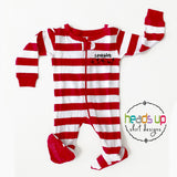 infant baby cousin crew matching pajamas coordinating with big kids 1 piece footed zipper grandkids cute popular best seller pj's grandma nana cousin crew snowflake christmas pajamas sleepwear. Red white stripes comfortable soft leveret pajamas. fast free shipping last minute gift.