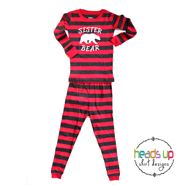 sister bear holiday pajamas matching coordinating family pajamas pj's stripes striped red and gray sis sibling cute popular best seller soft 100% cotton pajamas made in the USA fast shipping photo outfit shirt for christmas cards. Sister bear mama papa baby brother