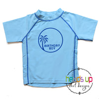 birthday boy swim shirt rashguard sun protection SPF 50 baby kids toddler 2t 3 4t 5 birthday boy bday palm tree swimsuit bday shirt swim party apparel shirts cute popular best seller best selling