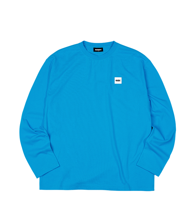 ベーシック ロゴ 長袖 Tシャツ ブルー / Basic Long Sleeve T-shirt Blue - whoisnerdy jp