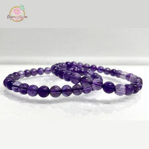 Natural Amethyst 6mm 7.5' Crystal Healing Bracelet