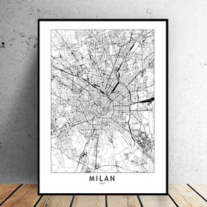 Milan City Map - Bad Bixch Decor