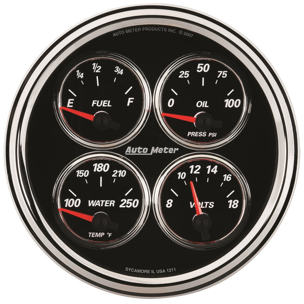 5 in. QUAD GAUGE 100 PSI/100-250 Farinihieht/8-18V/240-33 O DESIGNER BLACK II
