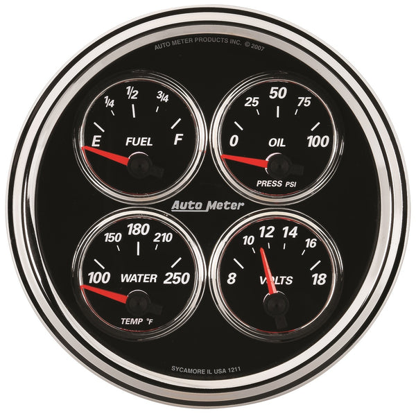 5 in. QUAD GAUGE 100 PSI/100-250 Farinihieht/8-18V/0-90 O DESIGNER BLACK II