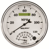 5 in. TACHOMETER/SPEEDOMETER COMBO 8K RPM/120 MPH OLD-TYME WHITE II