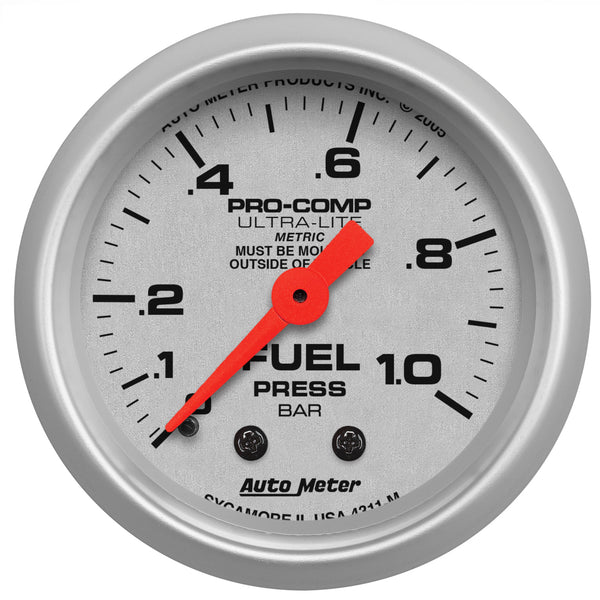 2-1/16 in. FUEL PRESSURE 0-1.0 BAR ULTRA-LITE