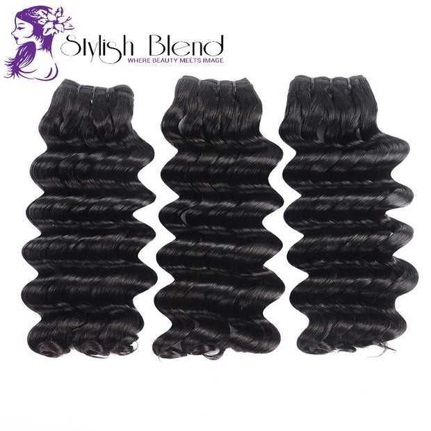 3 Deep Wave Bundles with closure Brazilian Double Drawn Virgin Hair Unprocessed Weave 100% Human Hair Extension